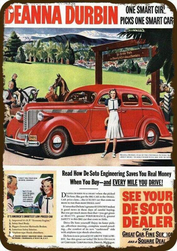 1938 DESOTO DE SOTO Car Vintage Look REPLICA METAL SIGN - Actress DEANNA DURBIN