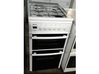 a504 white beko 50cm double oven gas cooker comes with warranty can be delivered or collected