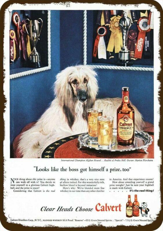 1946 CALVERT WHISKEY Vintage Look DECORATIVE METAL SIGN - Cute AFGHAN HOUND DOG