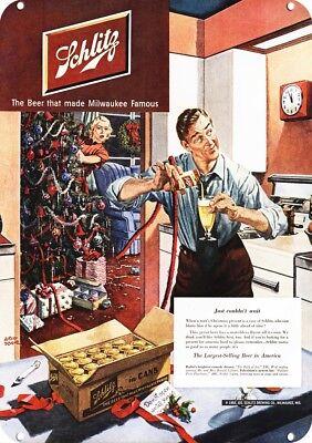 1950 SCHLITZ Replica Metal Sign WIFE DECORATES CHRISTMAS TREE & MAN DRINKS BEER