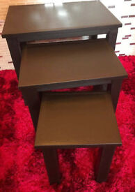 Set of 3 Brown Faux Leather Nest of Tables.