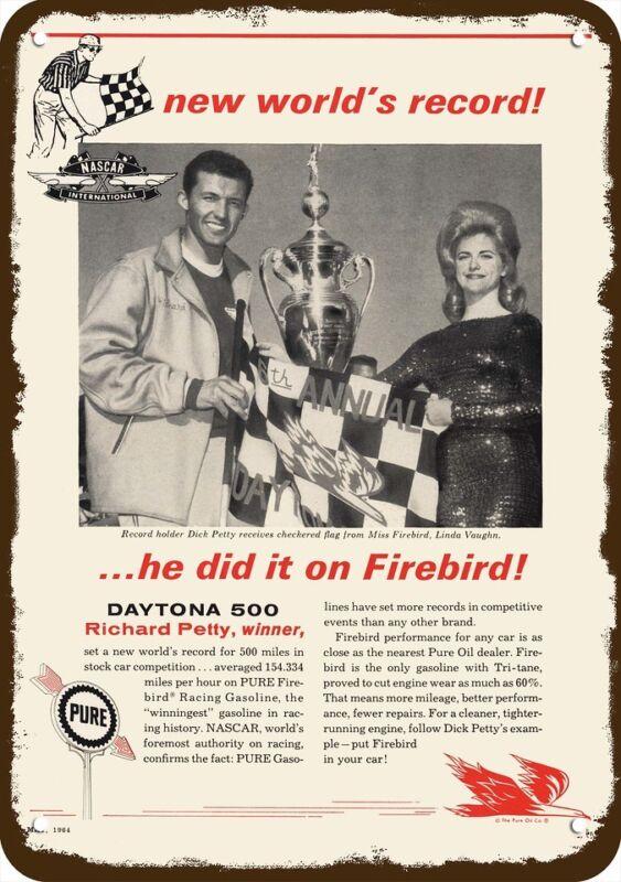 1964 PURE OIL Vintage Look REPLICA METAL SIGN - RICHARD PETTY NASCAR DAYTONA 500
