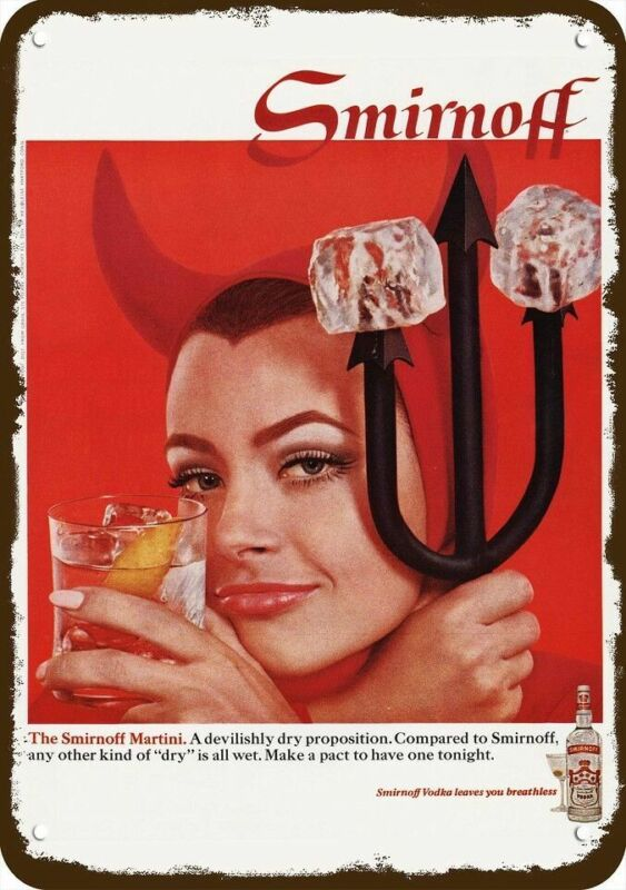 1968 SMIRNOFF VODKA & MARTINI Vintage Look Replica Metal Sign - SEXY WOMAN DEVIL