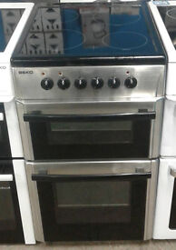 A150 stainless steel beko 50cm double oven ceramic hob electric cooker comes with warranty