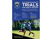 Football Team Trials for 2016/17 season - Biggest and Best Club in South London