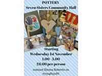 POTTERY CLASSES AT SEVEN SISTERS COMMUNITY HALL
