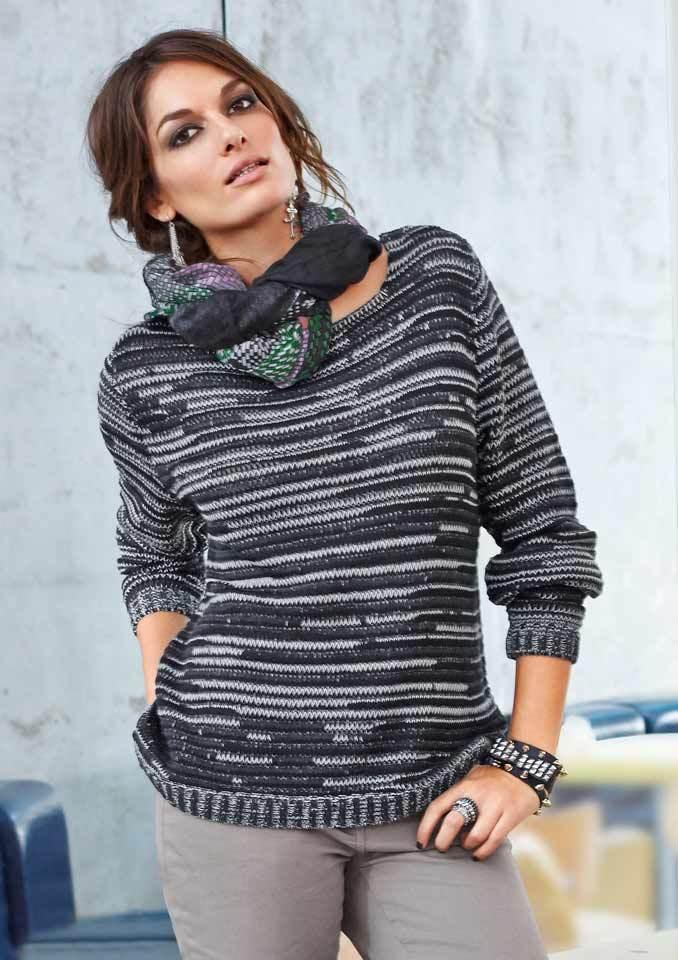 """Aniston"" Damen Woman Pullover Strick Pulli Figurbetont Schwarz-Grau Gr.38 NEU"