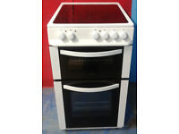 c364 white logik 50cm ceramic hob electric cooker comes with warranty can be delivered or collected