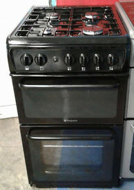 I476 black hotpoint 50cm gas cooker comes with warranty can be delivered or collected