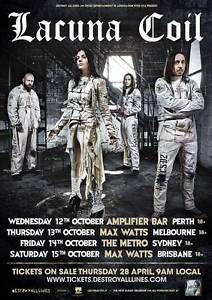 WANTED: 1 Lacuna Coil ticket - Metro Theatre Sydney - Fri 14 Oct Sydney City Inner Sydney Preview
