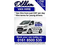 VAN HIRE IN OLDHAM, LANCASHIRE - FROM £29 PER DAY - DRIVERS 21 AND OVER