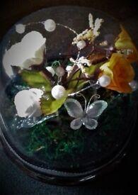 UNIQUE Gift encased silk flower Domes