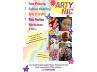Children's face painter, balloon twister, glitter tattoos and pamper parties, plus art and crafts