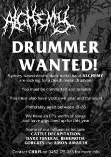 Wanted: DEATH/BLACK METAL DRUMMER WANTED!!!