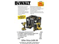 Dewalt Brishless SDS & 3 speed Impact + 2 X 5 amps.