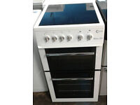 g122 white flavel 50cm ceramic hob electric cooker comes with warranty can be delivered or collected