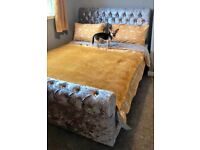 High Quality Silver Sleigh Bedframe with diamonds on Clearance Sale ¬!¬!¬