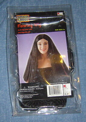 Totally Ghoul Halloween Costume Flowing Wig Straight Black Hair 1 Size Fits All