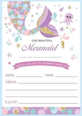 CHILDRENS MERMAID THEME BIRTHDAY PARTY INVITATIONS KIDS INVITES GIRLS CHILDS ](Kids Invitations)