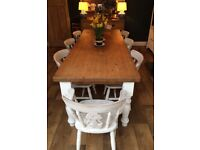Fantastic large solid wood farmhouse dining table and 8 chairs