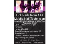 Mobile Nail Technician of CND Shelac, Gelish, OPI Gel Nails and nail tips with Acrylic overlays