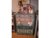 hand painted tall vintage chest of drawers
