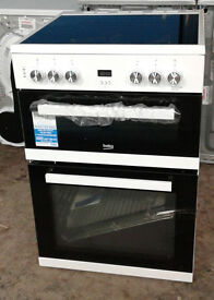 b108 white beko 60cm ceramic double electric cooker new graded with 12 month warranty