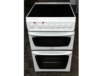 d437 white creda 50cm double oven ceramic cooker comes with warranty can be delivered or collected