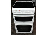 E437 white creda 50cm double oven ceramic hob electric cooker comes with warranty can be delivered