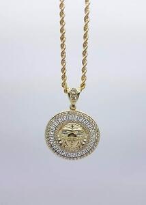 chaine torsade en or 10 karat + Versace medaillon en or 10 karat neuf