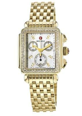 New Michele Deco Signature Diamond Dial Gold Tone Ladies Watch MWW06P000100 Signature Deco Diamond