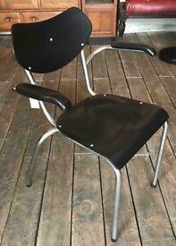 Mid Century Painted Black Desk / Armchair With Tubular Frame