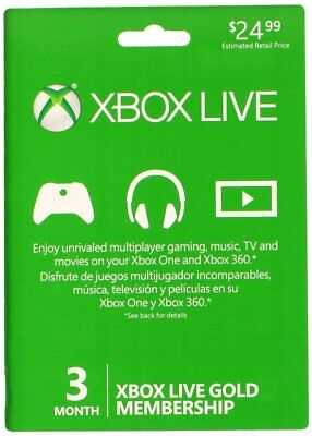 Microsoft 3 Month Xbox Live Gold Membership Card -  Xbox One & Xbox 360