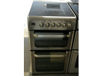 a793 stainless steel hotpoint 50cm double oven ceramic hob electric cooker comes with warranty