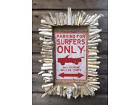 Surfers' Sign with driftwood surround