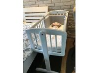 Description: White Mothercare Swinging Crib