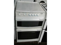 a505 white cannon 55cm double oven gas cooker comes with warranty can be delivered or collected