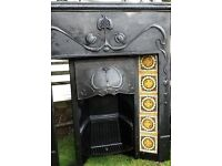 Cast iron Victorian style fireplace with tiles