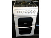 l486 white hotpoint 50cm gas cooker comes with warranty can be delivered or collected