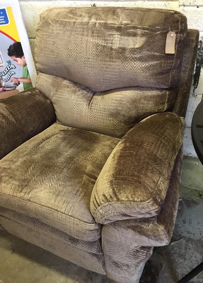 Armchair Brown/Taupe Patterned Sofa New Ex display Our price £60