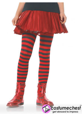 7-10 years Girls Black And Red Striped Tights by Leg Avenue - Girls Black And Red Striped Tights