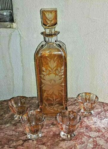 Vintage Continental Cut-to-Clear Art Deco Decanter and Cups Set.