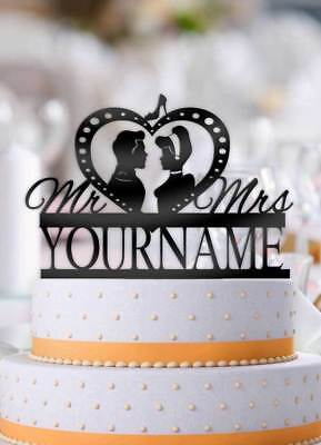 Personalized Cinderella and Prince Charming Profile Wedding Cake Topper