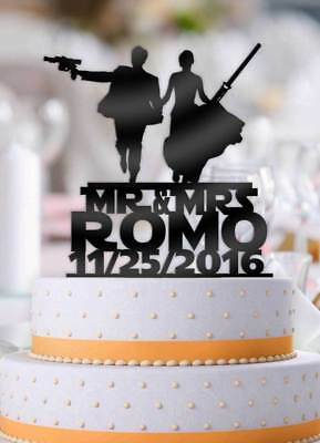 Personalized Star Wars Couple Mr Mrs with Name and Date Wedding Cake Topper - Star Wars Wedding Cake Toppers