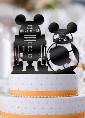 Star Wars BB-8 R2D2 with Mouse Ears Wedding Cake Topper - Star Wars Wedding Cake Toppers