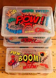 Wilko Superhero Plastic Storage Boxes *Old Trafford Collection*