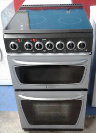 F453 silver hotpoint 50cm double oven ceramic hob electric cooker comes with warranty can deliver