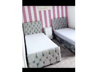 Sleigh 3ft Single Size Beds Optional