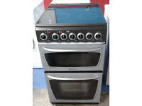 e453 silver hotpoint 50cm double oven ceramic electric cooker comes with warranty can be delivered