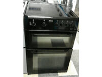 l348 black beko 60cm double oven ceramic hob electric cooker comes with warranty can be delivered